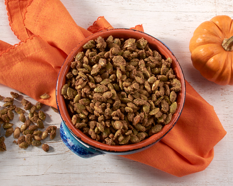 Sweet and Spicy Candied Pumpkin Seeds