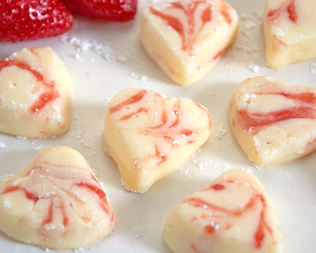 Heart-Shaped Fresh Strawberry Swirl Fudge