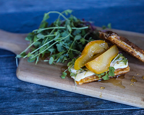 Ginger Pear Waffle Sandwich with Blue Cheese