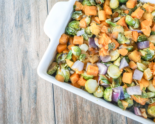 Roasted Butternut Squash and Brussels Sprout Agrodolce Bowl with Quinoa and Kale