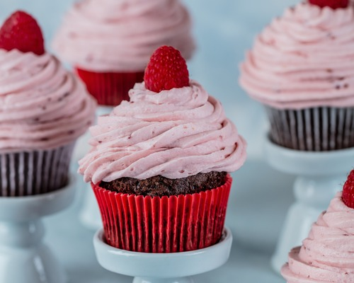 Gluten-Free Chocolate Cupcakes with Raspberry Buttercream