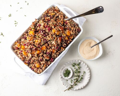 Roasted Butternut Squash Quinoa with Cranberries and Pecans