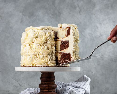 Marbled Cake with White Chocolate Buttercream